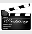 wedding clapperboard vector image vector image
