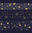 christmas and happy new year gold seamless pattern vector image