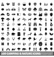 100 camping and nature icons set in simple style vector image vector image