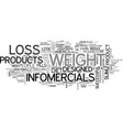 a look at weight loss infomercials text word vector image vector image