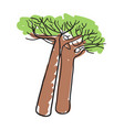 african baobab tree hand drawn icon vector image vector image