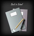 Back to School with workbooks and supplies vector image vector image