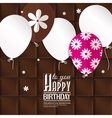 Birthday card with paper balloons on chocolate vector image