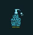 bottle water typography hand sanitizer vector image vector image