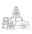 car with set suitcases travel vector image vector image