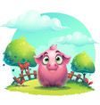 cartoon big pig on a on the lawn background vector image vector image