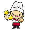 cartoon chef character in-call front instruction vector image