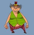 cartoon fat man circus performer in a small hat vector image vector image