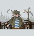 cartoon man fisherman standing on the village pier vector image
