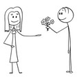 cartoon man offering flowers and love to woman vector image