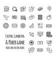 casino gambling poker game set icons vector image