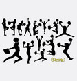 cheerleader sport girl jumping silhouette vector image