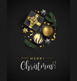 christmas card of gift and gold xmas ornaments vector image vector image