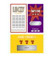 collection different lottery tickets vector image vector image