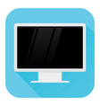 computer lcd monitor flat design blue square vector image vector image