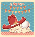 cowboy happy birthday card with little baby in vector image vector image