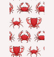 crabs pattern red seamless seafood repetition vector image