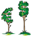 dollar versus euro on tree vector image