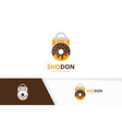 donut and shop logo combination doughnut vector image vector image