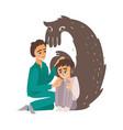 flat doctor calming down mental patient vector image vector image