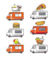 flat street food truck icons set vector image