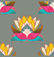 flowers on gray blue and pink colors flourish vector image