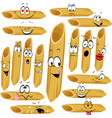 funny penne pasta cartoon character with many faci vector image vector image