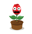 funny red rose smiling vector image vector image