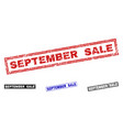 grunge september sale textured rectangle stamps vector image vector image