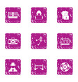 hacker attack icons set grunge style vector image vector image