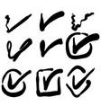 hand drawn check mark icon set in cartoon doodle vector image vector image