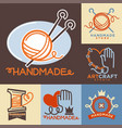 handmade workshop logo badges with pictures vector image vector image