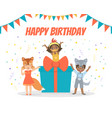 happy birthday banner festive invitation card vector image vector image