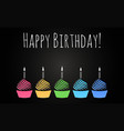 happy birthday cupcakes design background vector image