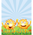 Happy monsters near the hills vector image vector image