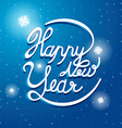 Happy New Year Font on blue and white snow vector image vector image