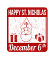happy saint nicholas stamp vector image vector image