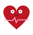 heartbeat medical symbol cartoon smiling cartoon vector image vector image