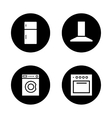 Household appliances black icons set vector image vector image