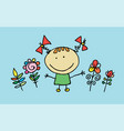 little cartoon girl with flowers vector image