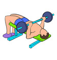 men training on the bench press icon cartoon vector image