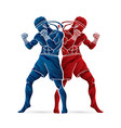 muay thai thai boxing standing action vector image vector image