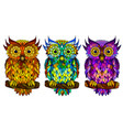 owl wall sticker set 3 artistic owls vector image vector image