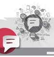 Paper and hand drawn speech bubble emblem with vector image vector image