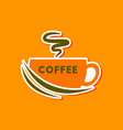 paper sticker on stylish background coffee cup vector image vector image
