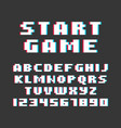 pixel retro style video game font vector image