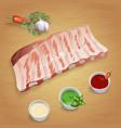 pork ribs with tasty sauces and spices mustard vector image vector image