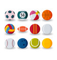realistic sport balls set isolated on white vector image vector image