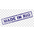 scratched made in rio rectangle stamp vector image vector image
