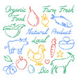 set hand drawn farm food icons and lettering vector image vector image